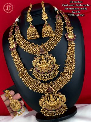 Gold Matte Finish Premium Quality Bridal Combo Set MN540 (2)