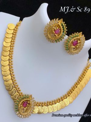 Gold Polish Premium Quality Coin Necklace MN89 (4)