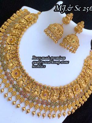 Gold Polish Premium Quality Kemp Stone Necklace MN256 (1)