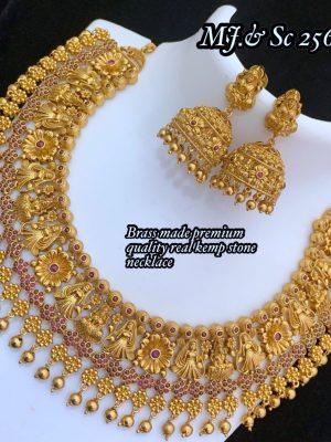 Gold Polish Premium Quality Kemp Stone Necklace MN256 (2)