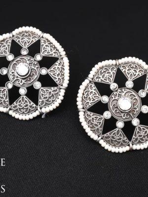 Silver Looklike Stone Earrings SH400