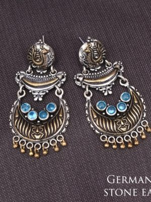 German silver stone earrings