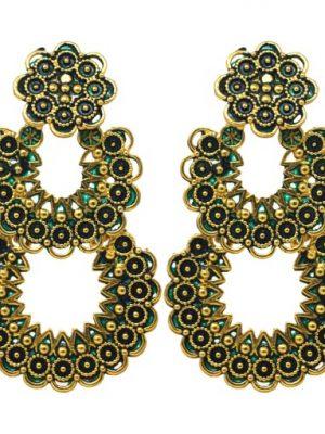 Oxidised Golden Polish Alloy Metal Chandbali Earrings