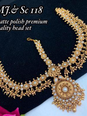 Matte Premium Quality Bridal Head Beads Set MN118