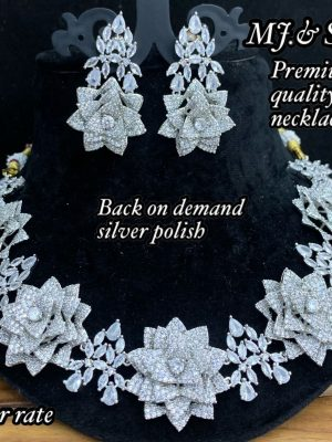 New Floral Design AD Matte Necklace Set MN325 (2)