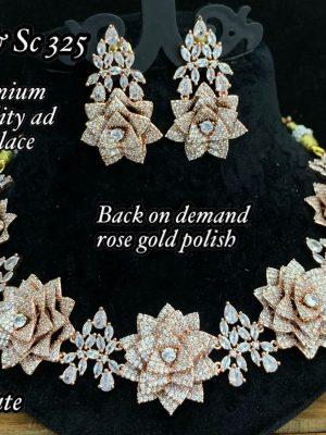 New Floral Design AD Matte Necklace Set MN325 (3)
