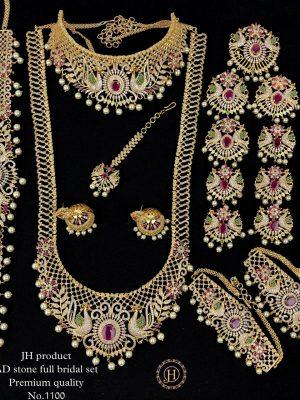 Premium Quality Ad Stone Gold Finish Bridal Set MN1100