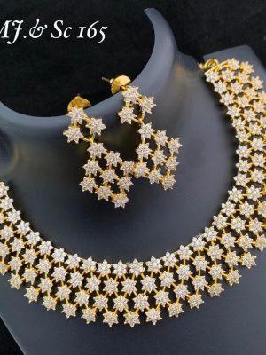 Premium Quality Ad Stone Gold Finish Necklace Set MN165