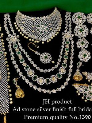 Premium Quality Ad Stone Silver Finish Bridal Set MN1390 (1)