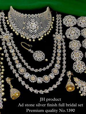 Premium Quality Ad Stone Silver Finish Bridal Set MN1390 (2)