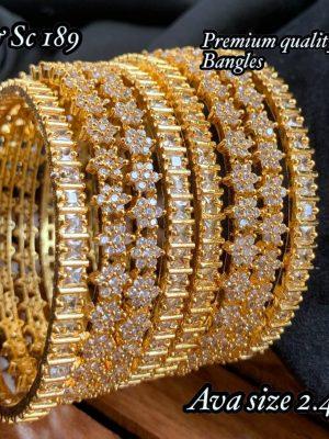 Real Kemp Stone Gold Finish Bangles Set MN189