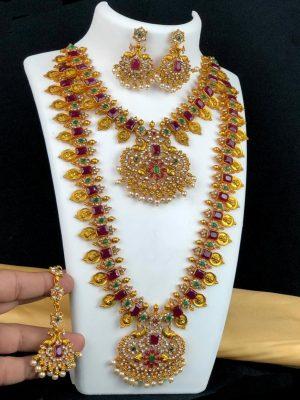 Ruby Emerald Necklace and Long Haram Bridal Set