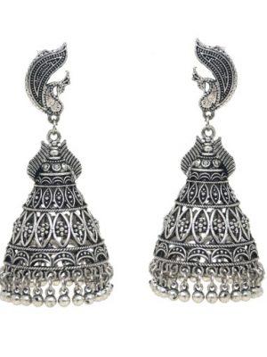 Oxidised Silver Polish Peacock Jhumka Earrings