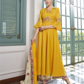 PARTY WEAR YELLOW PALAZZO SUIT