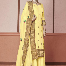 YELLOW SILK PAKISTANI SALWAR KAMEEZ