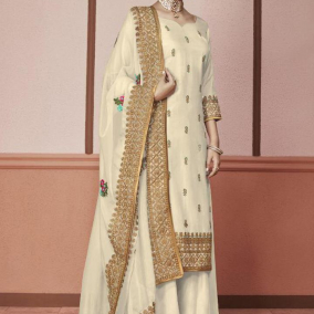 OFF WHITE SILK PAKISTANI SALWAR KAMEEZ