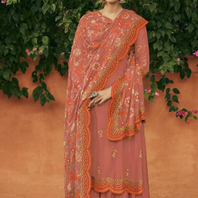 DARK PEACH SILK PAKISTANI SALWAR KAMEEZ